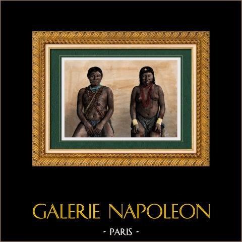 Ritratto di Uomo e Donna Galibis - Gruppo etnico Amerindiano (America del Sud) | Incisione xilografica originale incisa da Thiriat. Acquerellata a mano. 1894