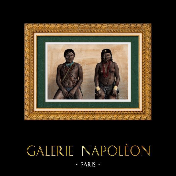 Gravures Anciennes & Dessins | Portrait d'Homme et de Femme Kali'na - Groupe ethnique Amérindien (Amérique du Sud) | Gravure sur bois | 1894