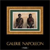 Portrait d'Homme et de Femme Kali'na - Groupe ethnique Amérindien (Amérique du Sud) | Gravure sur bois originale gravée par Thiriat. Aquarellée à la main. 1894