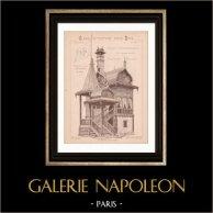 Ritning av Arkitekt - Ryskt Hus - Världsutställning 1889 (Ch. Garnier - Gateuil & Daviet) | Ritning av arkitekt som skrivs ut i 1890