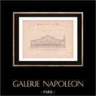 Dessin d'Architecte - Béziers - Projet de Halles Centrales (Mr Babet) | Dessin d'architecte imprimé en 1890