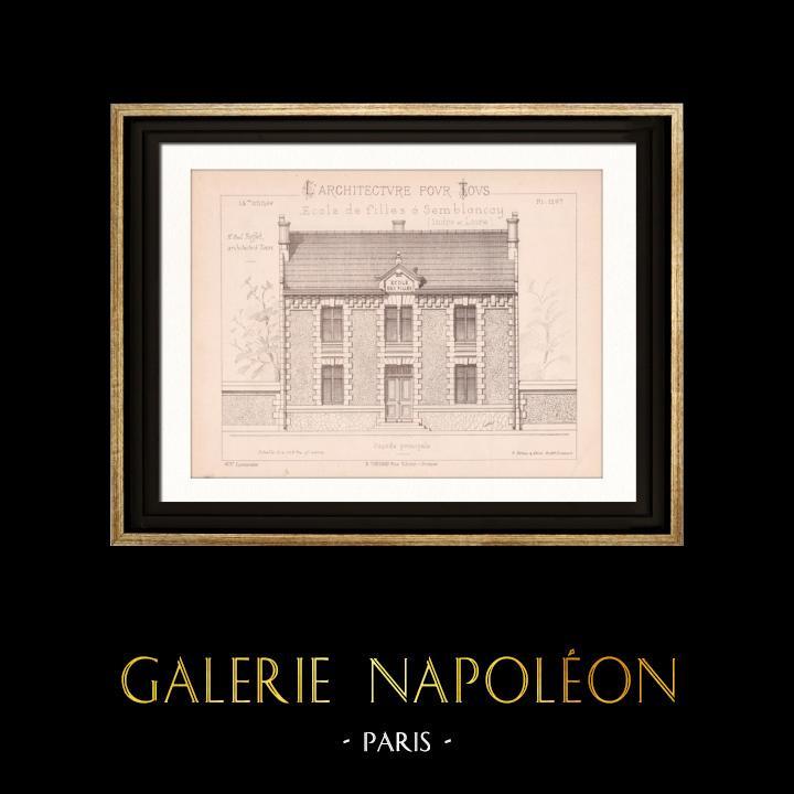 Gravures Anciennes & Dessins | Dessin d'Architecte - Semblancay - Indre-et-Loire - Ecole de Filles (Mr Paul Raffet - Gateuil & Daviet) | Gravure | 1890