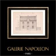 Dessin d'Architecte - Semblancay - Indre-et-Loire - Ecole de Filles (Mr Paul Raffet - Gateuil & Daviet) | Dessin d'architecte imprimé en 1890