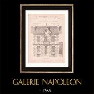 Dessin d'Architecte - Environs de Paris - Maison de Campagne (Mr C. Daviet - N. Gateuil & Daviet) | Dessin d'architecte imprimé en 1890