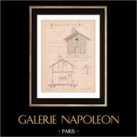 Dessin d'Architecte - Petite Maison pour Ménage d'Ouvriers (Mr Gilly - Gateuil & Daviet) | Dessin d'architecte imprimé en 1890