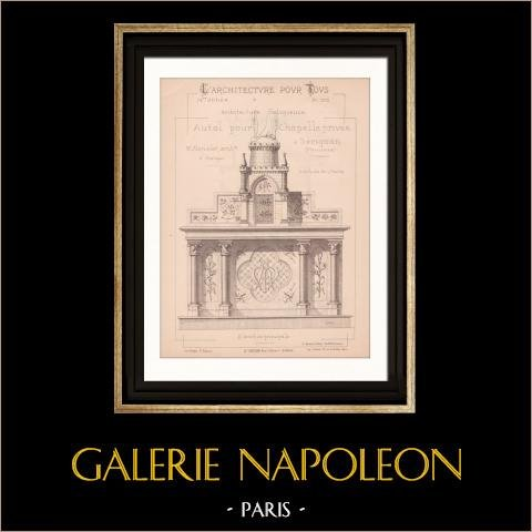 Drawing of Architect - Sérignan - Vaucluse - Chapel - Altar (Mr Marcelet - Gateuil & Daviet) | Drawing of architect printed in 1890