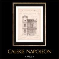 Dessin d'Architecte - Cap d'Antibes - Alpes-Maritimes - Maison - Pavillon au Bord de la Mer (Mr E. Tabel - Gateuil & Daviet) | Dessin d'architecte imprimé en 1890