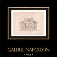 Dessin d'Architecte - Pougues-les-Eaux - Nièvre - Maison de Mr Frébault de Montlouis (Mr Menuel - Gateuil & Daviet)   Dessin d'architecte imprimé en 1890
