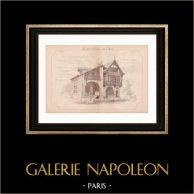 Disegno di Architetto - Maisons des Epoques Charlemagne et Saint Louis - Esposizione universale 1889 (Ch. Garnier) | Disegno di architettura stampato nel 1890