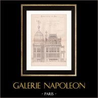 Drawing of Architect - Pavillon du Gaz - World Fair - Universal Exposition 1889 (H. Picq) | Drawing of architect printed in 1890
