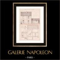 Dessin d'Architecte - Noisiel - Seine-et-Marne - Cité Ouvrière - Usine Ménier - Maison (Gateuil & Daviet) | Dessin d'architecte imprimé en 1890