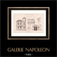 Dessin d'Architecte - Cap d'Antibes - Alpes-Marítimes - Maison - Pavillon au Bord de la Mer (Mr E. Tabel) | Dessin d'architecte imprimé en 1890