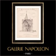 Drawing of Architect - Neuilly-Plaisance - House - Villa Jumelle à Loyer (Mr Charpentreau Architecte)   Drawing of architect by Charpentreau printed in 1891