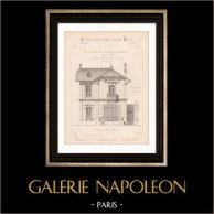 Dessin d'Architecte - Bois-Colombes - Maison du Garde-Jardinier (M. Duhamel Architecte) | Dessin d'architecte de M. Duhamel imprimé en 1891