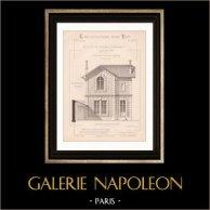 Dessin d'Architecte - Bois-Colombes - Maison du Garde-Jardinier (M. Duhamel Architecte) | Dessin d'architecte de Duhamel imprimé en 1891
