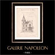 Dessin d'Architecte - Enghien - Plan d'élévation - Maison d'Habitation (Mr Joanny Bernard Architecte) | Dessin d'architecte de Joanny Bernard imprimé en 1891