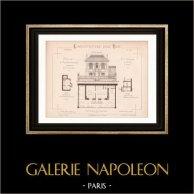 Drawing of Architect - Paris - House - Maison à Rez-de-Chaussée (Mr Jules Cacheux Architecte)