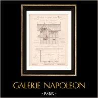 Dessin d'Architecte - Auteuil - Plan d'élévation - Ecurie et Logement (MM. Vaaser et Bougleux Architectes) | Dessin d'architecte de Vaaser et Bougleux imprimé en 1891