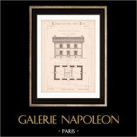 Dessin d'Architecte - Plan d'élévation - Maison d'Habitation (Mr Robin Architecte) | Dessin d'architecte de Robin imprimé en 1891