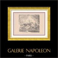 View of Paris Rive gauche - Gobelins Public Garden - Gobelins Manufactory - Croulebarbe | Original wood engraving drawn by Montal. 1948