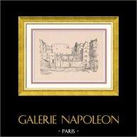 View of Paris Rive gauche - Rue des Cinq-Diamants - Butte-aux-Cailles | Original wood engraving drawn by Montal. 1948