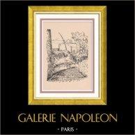 View of Paris Rive gauche - Cours des Artistes - Butte aux Cailles | Original wood engraving drawn by Montal. 1948