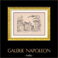 Vue de Paris Rive gauche - Jardin des Plantes - Buffon - Cuvier | Gravure sur bois originale dessinée par Montal. 1948