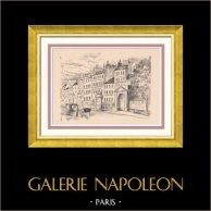 View of Paris - Rive droite - Faubourg Saint Antoine - Suburb - The Bastille   Original wood engraving drawn by Montal. 1948
