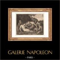 Pittura italiana - Gesù Cristo - La Deposizione (Andrea Squazzella) | Incisione su acciaio originale disegnata da Chatillon, incisa da Girardet. 1865