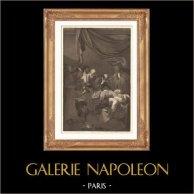 Pittura italiana - Vergine Maria - La Morte della Vergine (Caravaggio)  | Incisione su acciaio originale disegnata da Desenne, incisa da H. Laurent - Claefsens. 1865