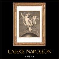 Pittura italiana - La Fortuna (Guido Reni) | Incisione su acciaio originale disegnata da Granger, incisa da Morace. 1865