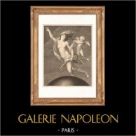 Pintura italiana - La Fortuna (Guido Reni) | Original acero grabado dibujado por Granger, grabado por Morace. 1865