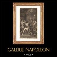 Pintura italiana - Pasión de Jesucristo - Corona de espinas (Le Titien, Tiziano) | Original acero grabado dibujado por Gianni, grabado por Ribault. 1865
