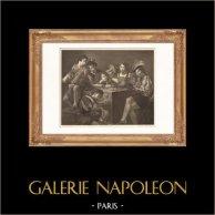 Pittura francese - Concerto - Strumenti Musicali (Valentin) | Incisione su acciaio originale disegnata da Anastasi, incisa da Félix Massard. 1865