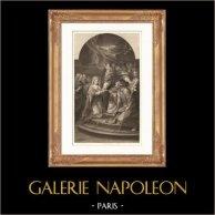 Pintura francesa - Los Desposorios de la Virgen María (Carle van Loo) | Original acero grabado dibujado por Gianni, grabado por Jean Bein. 1865