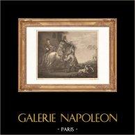Pittura olandese - Cavallo - Cavaliere - Giretto (Albert Cuyp) | Incisione su acciaio originale disegnata da Gianni, incisa da Lavalé. 1865