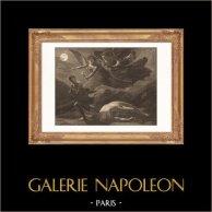 Pittura francese - Giustizia - Vendetta - Divina (Pierre-Paul Prud'hon) | Incisione su acciaio originale incisa da F.A. Gelee. 1865