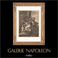 Pittura francese - Fauno - Satiro - Hamadríade (Nicolas Poussin) | Incisione su acciaio originale disegnata da Gianni, incisa da Blot. 1865
