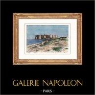 Veduta di Gerba (Tunisia) - Golfo di Gabès | Incisione xilografica originale disegnata da Taylor, incisa da Meaulle. Acquerellata a mano. 1886