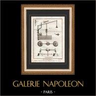 Architecture - 1779 - Découpe des Pierres - Machine pour Tourner les Bases des Colonnes   Gravure sur cuivre originale sur papier vergé filigrané, Benard direxit. 1779