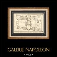 Arquitetura - 1779 - Desenho de Arquitecto - Abadia Real de Penthemont em Paris - Rue de Grenelle - Faubourg Saint Germain