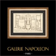 Architecture - 1779 - Architect's Drawing - Antique Blueprint - Penthemont Royal Abbey in Paris - Rue de Grenelle - Faubourg Saint Germain | Original copper engraving on laid paper with watermark, Benard direxit. 1779