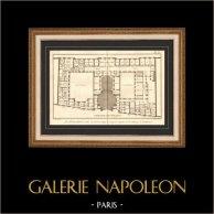 Arkitektur - 1779 - Ritning av Arkitekt - Kyrka - Abbotskloster i Penthemont i Paris - Rue de Grenelle - Faubourg Saint Germain