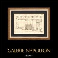 Architecture - 1779 - Dessin d'Architecte - Abbaye Royale de Penthemont à Paris - Rue de Grenelle - Faubourg Saint Germain | Gravure sur cuivre originale sur papier vergé filigrané, Benard direxit. 1779