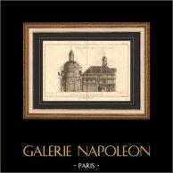 Architettura - 1779 - Disegno di Architetto - Chiesa - Abbazia Reale di Penthemont a Parigi - Rue de Grenelle - Faubourg Saint Germain