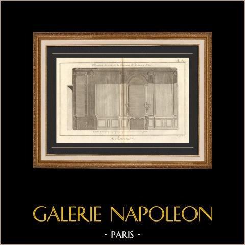 Architecture - 1779 - Dessin d'Architecte - Palais-Royal à Paris - Cheminée | Gravure sur cuivre originale sur papier vergé filigrané, Benard direxit. 1779