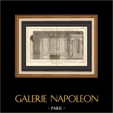 Architecture - 1779 - Dessin d'Architecte - Palais-Royal à Paris - Chambre de Parade | Gravure sur cuivre originale sur papier vergé filigrané, Benard direxit. 1779