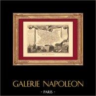 Carte de France - 1850 - Calvados (Dumont d'Urville - Laplace) | Gravure sur acier originale dessinée par Perrot - Raimond Bonheur, gravée par Laguillermie - Rainaud. 1850