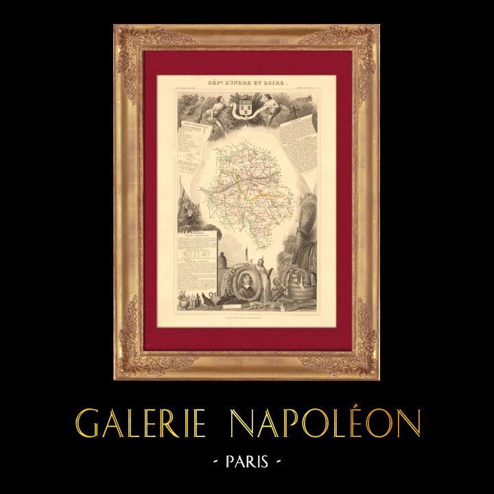 Gravures Anciennes & Dessins | Carte de France - 1850 - Indre-et-Loire (Descartes) | Taille-douce | 1850
