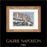 Vue des Grottes de Djoufout-Kaleh (Crimée) | Gravure sur bois originale dessinée par Taylor. Aquarellée à la main. 1880